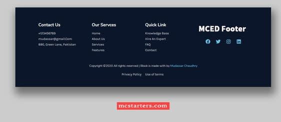 Links in Website Footer Design