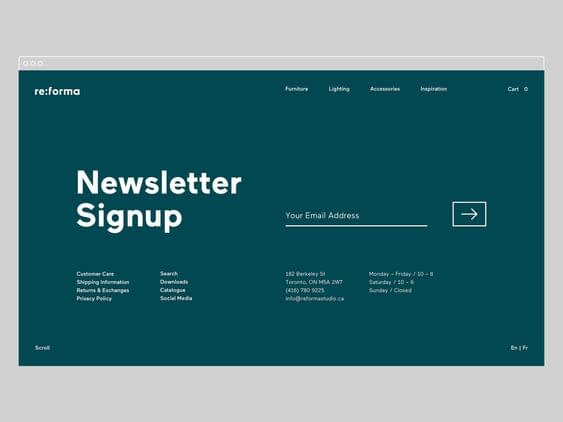 Email Newsletter Website Footer Design